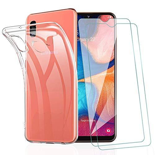 KEEPXYZ Funda para Samsung Galaxy A20e + 2 Pcs Protector de Pantalla para Samsung A20e Cristal Templado, Flexible Suave Silicona Transparente TPU Carcasa + Vidrio Templado para Samsung Galaxy A20e