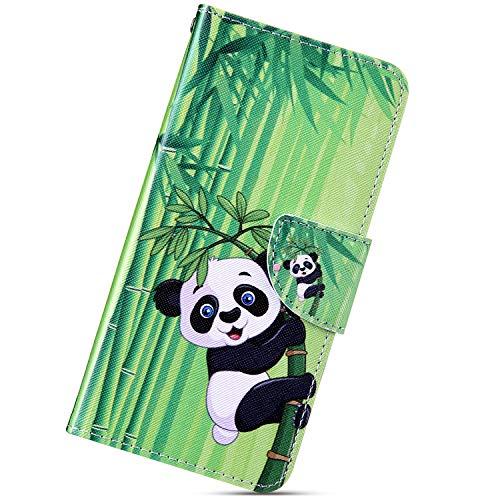 Urhause Funda Compatible con Xiaomi Redmi 5A.KunyFond Carcasa PU Cuero Flip Soporte Cierre Magnético Libro Ranuras Tarjetas Cartera Completa Protectora Cubierta Pintado 3D Bumper Case,Bambú de Panda