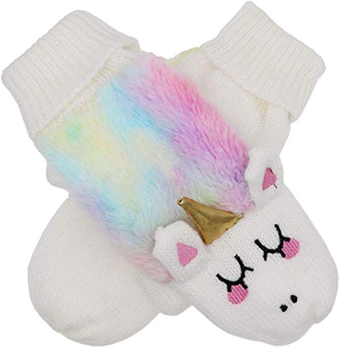 XPERRY Women Girls Kids Unicorn Mittens Tie Dye Winter Gloves Warm Lining Cozy Knit Faux Fur Rainbow Mitten