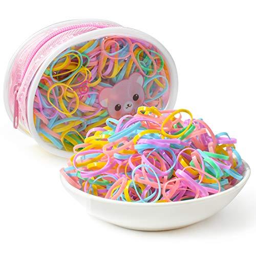 400 Stück Haargummis mit Reißverschluss Tasche, Mini Elastische Haarhalter bänder für Dreadlocks, Gummibänder Haarbänder für Kinder kleine Frauen Mädchen Flechten Dur:2.2cm