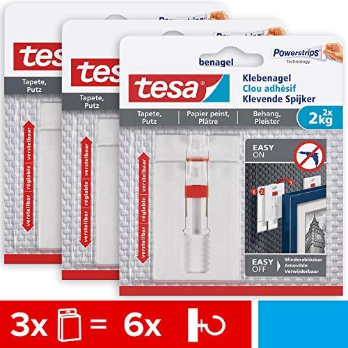 tesa 77777 Verstellbarer Tapeten und Putz 2 kg im 3er Pack-Höhenverstellbarer, Selbstklebender Wandnagel-Bis zu 2kg Halteleistung pro Nagel-3 x 2 Klebenägel, Weiß