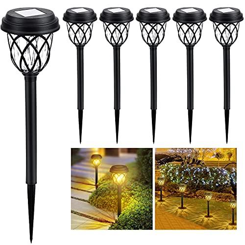 6 Stück Solarleuchten Garten,LED Warmweiß Solarlampen für Außen,IP65 Wasserdicht Solar Wegeleuchte Gartenleuchte Dekorative Licht für Garten Rasen Gehweg Balkon Landschaft
