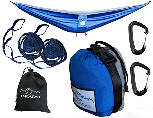 Best Double Camping Hammock, Complete Hammock System by Orado Outdoor Products, Includes Easy to Use Tree Straps, WireGate Carabiners and Attached Bag - Portable, Ultralight (Blue/Grey)