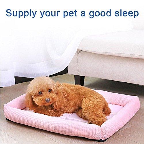 lulalula Kühlung Pet bett, PET Sofa Bett, gepolstert komfortable Kühlung Matte Kissen Sofa Cool Ice Silk Net Bett für Hunde, Katzen oder Puppy (L, Pink)