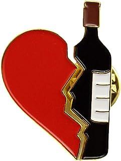 Aisoway Bottiglia del Cuore del Vino Rosso Stitching Spilla personalità Distintivo Breastpin per Il Rivestimento Maglione ...