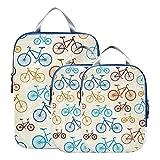 Organizador de viaje Cubos lindos Retro Bicicletas Flores Accesorios de viaje expansibles Cubos de embalaje comprimibles para equipaje de mano, viaje (juego de 3)
