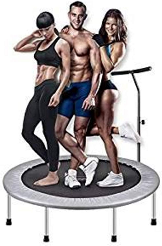 Fitness Trampolin leise Gummiseilfederung Hhenverstellbarer Haltegriff inkl Randabdeckung Nutzergewicht bis 150kg Trampolin für Jumping