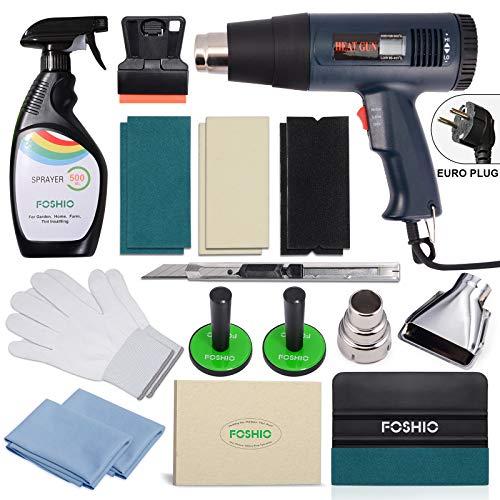 FOSHIO Folierung Werkzeuge Set mit Heißluftgebläse, Rakel, Schaber, Magnethalterung, Pumpsprayer, Flitz, Cuttermesser, Handschuhe und Selbstklebender Flitz für Autofolierung, Car Wrapping