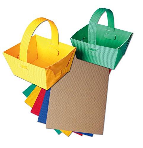 Wiemann Lehrmittel Henkelkörbchen-Set für Kinder, 10 Körbe aus Wellpappe, 5 Farben