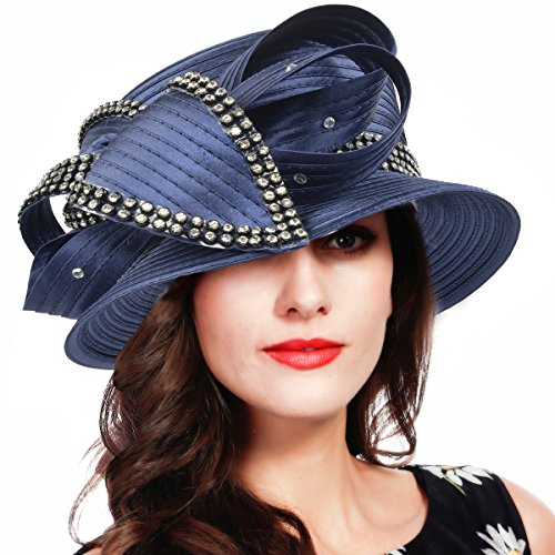 FORBUSITE Church Kentucky Derby Dress Hats for Women Navy Blue Striped