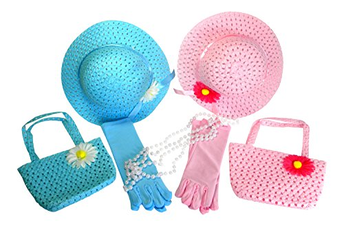 Butterfly Twinkles Girls Tea Party Hats Dress Up Play Set for 2 with Sun Hats Purses Gloves and Pearl Necklaces