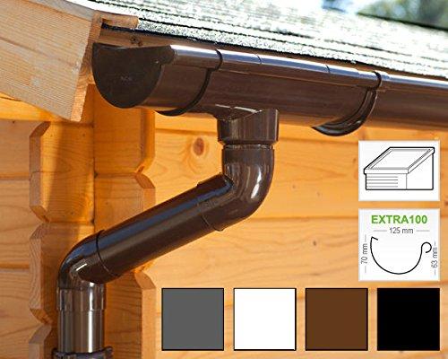 Dachrinnen/Regenrinnen Set | Pultdach (1 Dachseite) | Extra100 | in 4 Farben! (Komplettes Set bis 3.50 m, Braun)