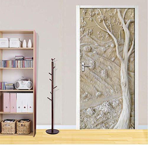 Zelfklevende deursticker 3D reliëf driedimensionale gips boom woonkamer slaapkamer wooncultuur PVC waterdichte sticker Chinees 95 * 215cm