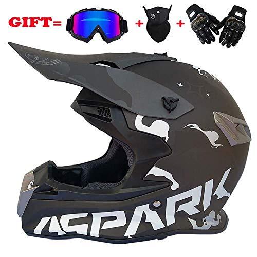 Off-road anti-botsing motorhelm, volledige gezicht helm offroad anti-botsing helm kit volwassen snelweg helm geven bril en fiets handschoenen stofmasker