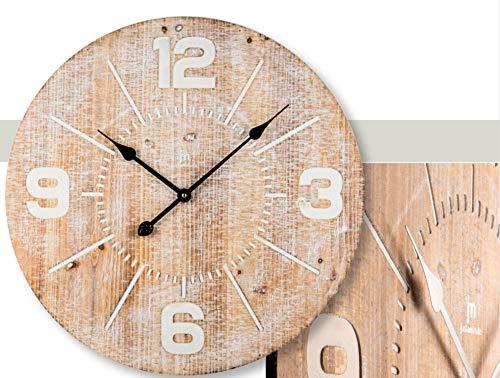 LOWELL wandklok kwarts met houten behuizing cijfers en gesneden indexen grootte Ø 60 cm