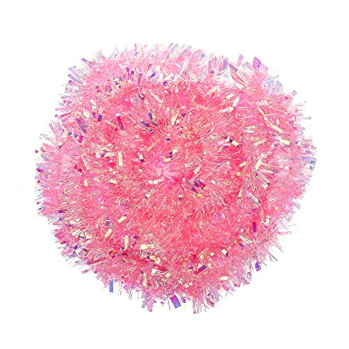 VEYLIN 6 M/19.7FT Xmas Decoration Tinsel Pink/Baby Pink Tinsel for Christmas Home Decoration