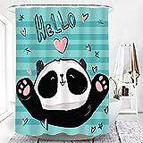 lxianghao Bad Vorhänge Panda Cartoon Tier Stange Duschvorhang Mit Duschvorhang Haken Polyester Stoff 80 X 180 cm