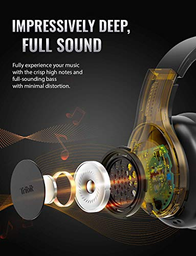 Tribit QuietPlus Active Noise Cancelling Headphones - 5.0 Bluetooth Headphones with MIC 30 Hrs Playtime CVC8.0 Hi-Fi Sound Type-C Foldable Wireless Headphones Over Ear for Airplane Travel Work, Black