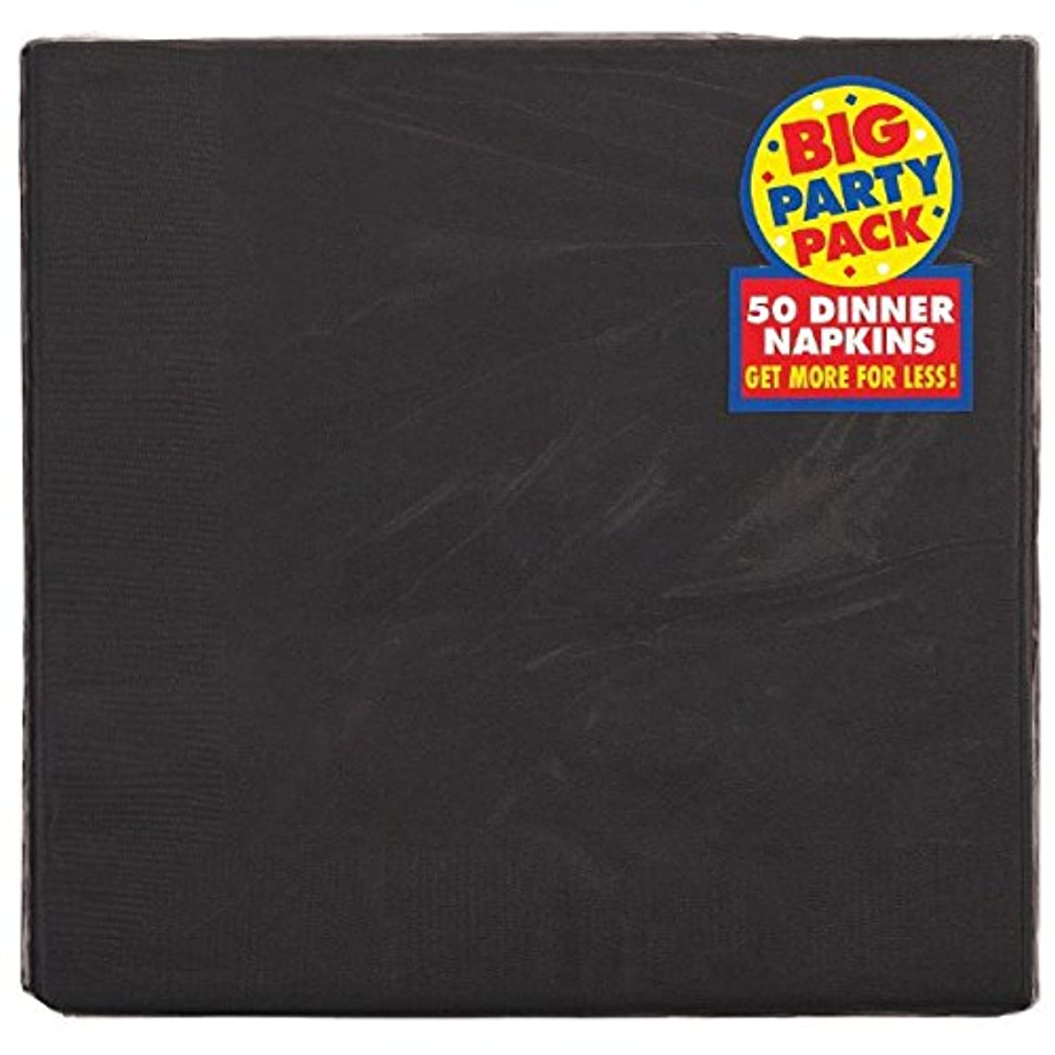 amscan Big Party Pack 2-Ply Dinner Napkins | Jet Black | Pack of 50 | Party Supply