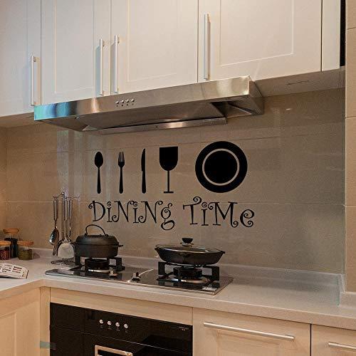 Yilooom Vinilo adhesivo para pared, decoración de cocina, diseño de vajilla, vinilo para pared, para el hogar, cocina, fondo, adhesivo mural, 55 cm de ancho