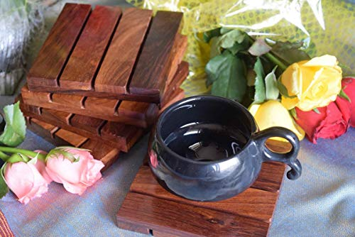 hashcart posavasos para drinks-hot & fría/de madera Coaster Sets/mesa de comedor, té y café decorative cóctel posavasos en madera de Sheesham | Set de 5, palo de rosa, marrón, 4x4 inch