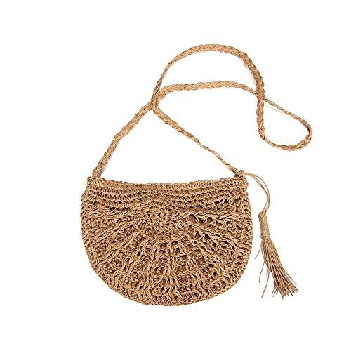 ZoneYan Strohtasche,Stroh Tasche,korbtasche,Reine handgemachte spinnende Schultertasche,neue Retro Art-Stroh umsponnene gesponnene Beutel-Reise-Riemen-Beutel-Schulter-Beutel-Handtaschen