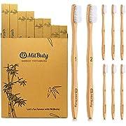 MitButy Cepillo de Dientes de Bambú [8 Uds] Cepillo de Dientes De Madera de Bambú con Cerdas Suaves Con Números Distintos |100% Natural, Ecológico, Vegano, Biodegradable, Reciclable y Sin Plástico