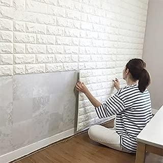 Wall Stickers (5PCS, White) 3D Brick Self-Adhesive Panel Decal PE Wallpaper