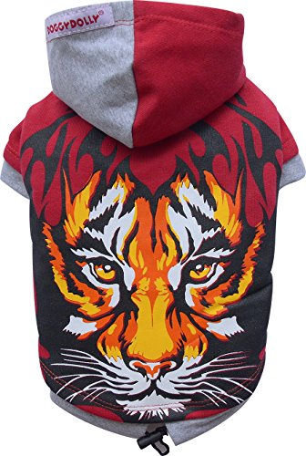 Doggy Dolly W074 Tiger Sweat à Capuche pour Chien Rouge Taille XXS