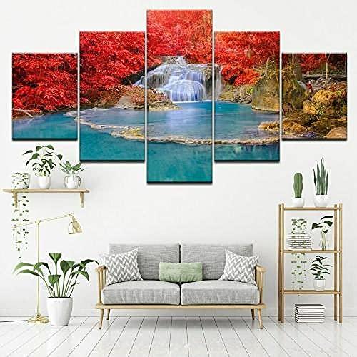 COCOCI Lienzo 5 Piezas Red Tree Blue Lake Landscape Lienzos Decorativos Cuadros Grandes Baratos Cuadros Decoracion Cuadros para Dormitorios Modernos Cuadros Decoracion Regalos Personalizados