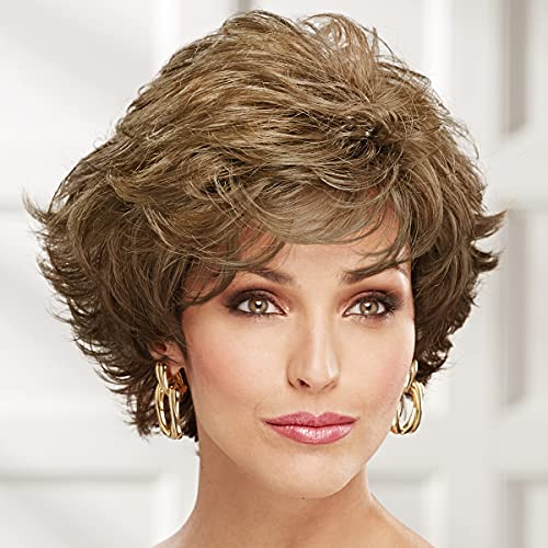 Dance Whisperlite Wig by Paula Young - Short, Fashion-Forward, Wavy Wig with Razor-Cut Bangs and Luscious Layers / 30+ Multi-tonal Shades of Blonde, Grey, Brown, and Red