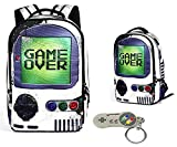 Gamer Canvas School Backpack 18' for Students 14' Laptop Sleeve w/Super Nintendo Key-chain
