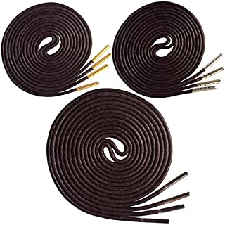 Shoelaces - 3 Pairs Thin Waxed Round Dress Shoelaces with Gold Silver Metal Tips Plastic Tips fit Men Women for Leather Sh...