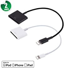 30 pin Charge & Sync Cable Adapter Converter for Apple iPhone Xs/Xs max/x ,iPhone 8/8plus ,iPhone 7/ 7 Plus,iphone 6s/6s Plus, iphone 5s/5c, iPad(Black and White)