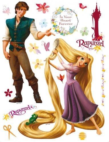 BilligerLuxus Kinder Wandtattoo Wandsticker Wanddeko Disney Rapunzel & Prinz