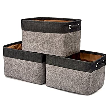 EZOWare Storage Bins Organizer, Set of 3 Foldable Collapsible Large Cube Fabric Linen Canvas Storage Baskets for Shelves Cubby Laundry Playroom Closet Clothes Shoe Baby Toy with Handles - Black Gray