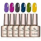 6 Colores Esmaltes Semipermanentes para U?as, Esmaltes de U?as Gel U?as Kit de Manicura para Principiantes y Uso Profesional en el Hogar y el Sal¨®n