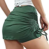 YEEZOMI Women Tennis Skort Active Golf Skirts with Pocket Lightweight Skirt for Running Side Drawstring Ruched Mini Pencil Skirts Army Green