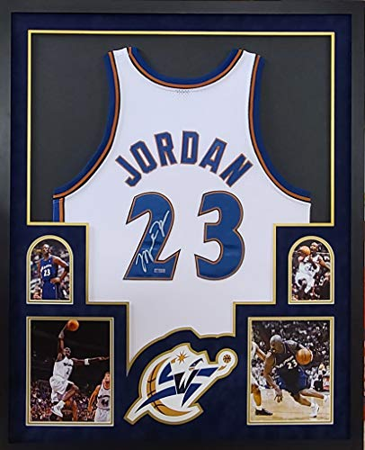 Michael Jordan Washington Wizards Autograph Signed Custom Framed 4 Picture Suede Matted UDA Upper Deck Authenticated