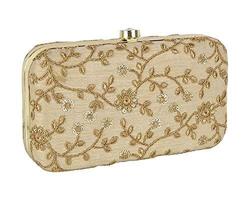 Tooba Handicraft Party Wear Hand Embroidered Box Clutch Bag Purse For Bridal, Casual, Party, Wedding (Beige)