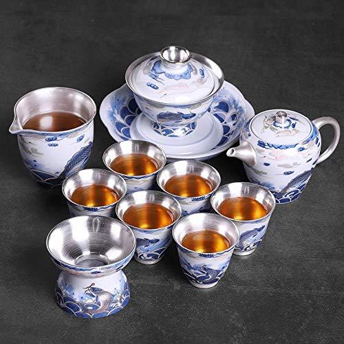 U/D Tetera de Plata Bolsa de Porcelana Sistema de té de Plata Simple Blue Blanco Porcelana 999 Conjunto de té Juego de té Ceramic Kung Fu Tea Taza Mjzhxm (Color : Verde Claro, Size : 10pcs)