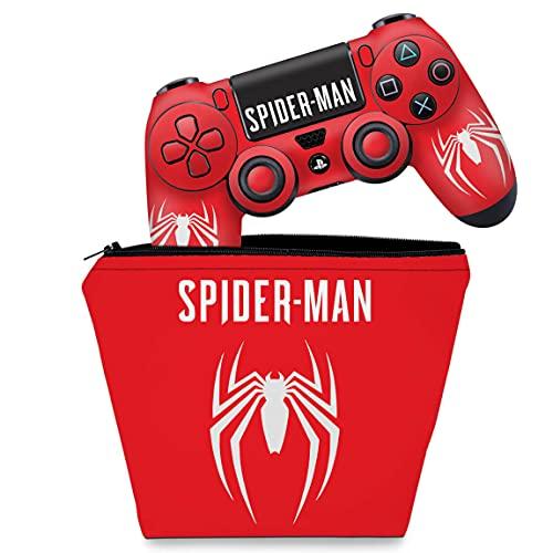 Capa Case e Skin Adesivo PS4 Controle - Spider-Man Bundle