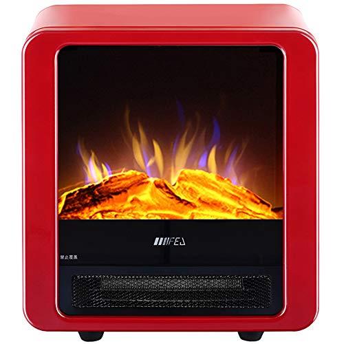GFYL Freistehender elektrischer Kamin, realistischer Flammenraumheizer mit Holzbrennstoffeffekt, vertikaler Heizkörper aus Metall 900 / 1800W, für den Innenbereich, Überhitzungsschutz,A