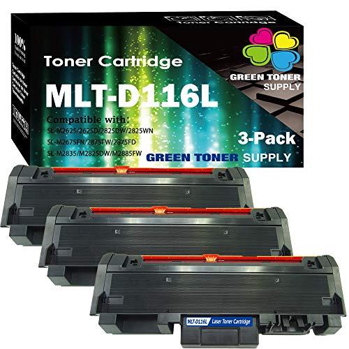 (3 Pack, Black) Samsung MLTD116L 116L Black Laserjet Toner Cartridges MLT-D116L for SL-M2825DW SL-M2875FD SL-M2875FW SL-M2835DW SL-M2885FW Printer, Sold by Green Toner Supply