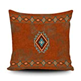 Jbralid Throw Pillow Cover Western Southwest Canyons Desert Copper Turquoise Petroglyph Tribal Decorative Cushion Case Home Decor Square Pillowcase 22' x 22'