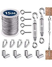 Cable de Acero Inoxidable, Alambre de Acero Inoxidable 2mm Cables de Acero PVC Revestida, Cable Acero Inoxidable 304 Cuerda Acero 15M/50Ft con Tensores Alambre/Ganchos Ojo/Dedales/Casquillo Aluminio