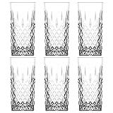 UNISHOP Set de 6 Vasos de Agua y Bebidas Alcohólicas, Vasos de Cristal Transparentes, Aptos para Lavavajillas