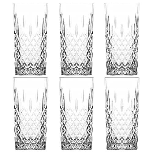 UNISHOP Set de 6 Vasos de Agua y Bebidas Alcohólicas, Vasos de Cristal Transparentes de 356ml, Aptos para Lavavajillas