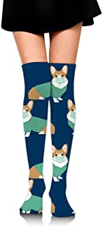 MKLOS 通気性 圧縮ソックス Breathable Knee High Leg Warmer Corgi in Scrubs Exotic Psychedelic Print Compression High Tube Thigh Boot Stockings Women Girl