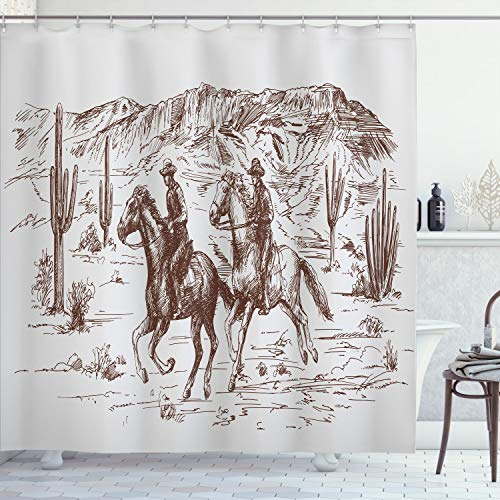 """Ambesonne Western Shower Curtain, Country Theme Hand Drawn Illustration of American Wild West Desert with Cowboys, Cloth Fabric Bathroom Decor Set with Hooks, 70"""" Long, Umber Pearl"""